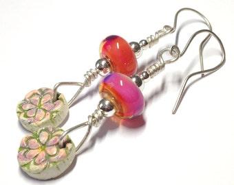 "Earrings - Handmade Glass Bead and Sterling Silver Earrings, Peach and Fuchsia Handmade Bead, 3"" drop Earrings"