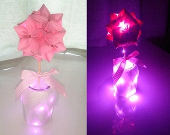 Origami flower arrangement with fairy lights. Wedding decoration, anniversary gift, birthday gift.