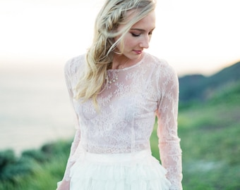Bridal long sleeve lace top for brides and bridesmaids for beach weddings, garden weddings, rehearsal dinners, & parties BLUSH/PEACH