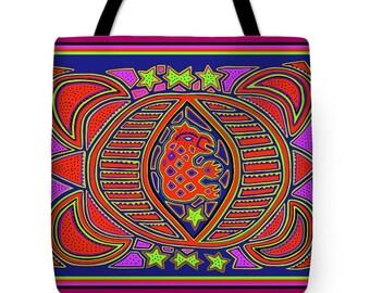 Kuna Indian Turtle Spirit Design Tote Bag Gift - Decorative Turtle Throw Pillow Gift - ReUsable Grocery Bag -Airline Travel Bag -Laptop  Bag