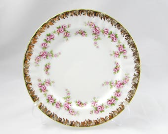 "Royal Albert ""Dimity Rose"" Luncheon Plate, Salad Plate, 8 Inches, Vintage Bone China"