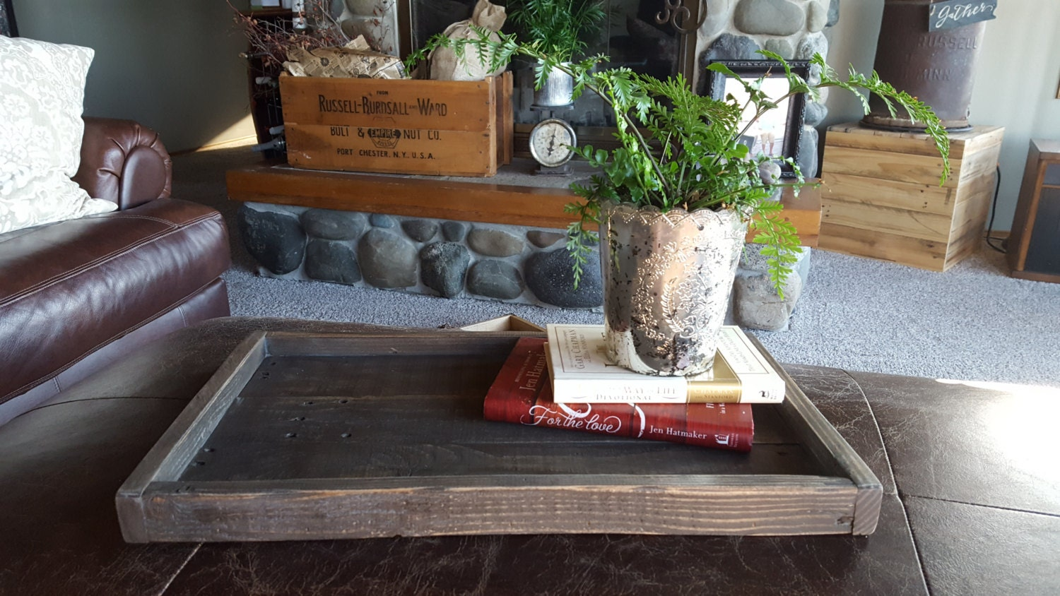 Rustic Wood Serving Tray Rustic Home Decor Farmhouse