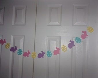 Bunny Rabbit Egg Garland Light Purple, Baby Pink, Aqua, Pale Yellow Cardstock Spring Easter Birthday Party Baby Shower Mantel Hanging Banner