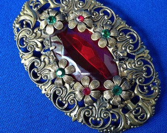1930s Bohemian Brooch with Ruby Glass Centre