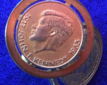 1960s Commemorative John F. Kennedy Gold Tone Cufflinks