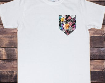 Men's White T-Shirt Roses And Flowers Swag Pocket Style Print TS674
