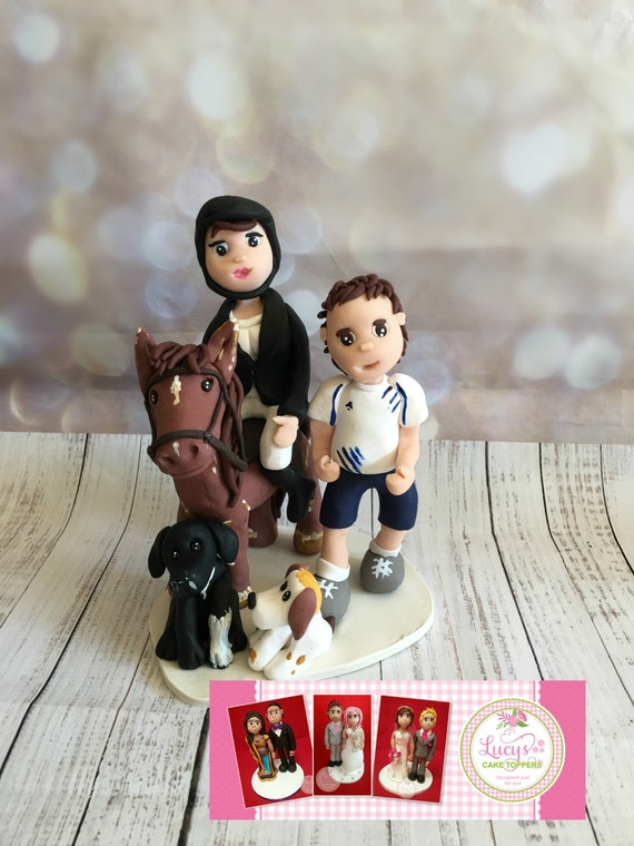 Wedding cake Topper with Horse plus bride and groom - Fully Personalised a lovely keepsake