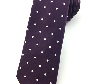 Purple and White Polka Dot pattern tie 6.5 cm Skinny tie. Slim Tie. Narrow Thin Tie. Skinny Tie. Formal Necktie. Polkadot ties. Skinny tie