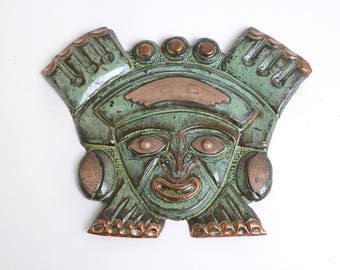 Vintage tribal wall sculpture, center America folk art