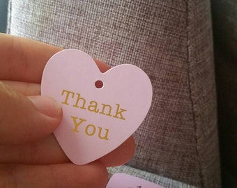 50Pcs Golden Writing 'Thank you' hang tags, light Pink Gold Thank you favour heart tags
