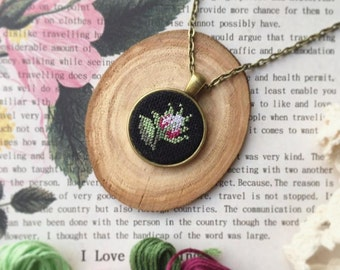 Rose micro embroidery pendant