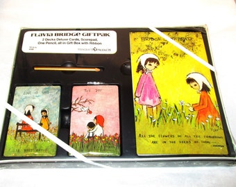 Vintage New FLAVIA WEEDN BRIDGE Giftpak 2 Decks Playing Cards, Score Pad Pencil Love is Said In Many Ways Joy In Believing Sealed Gift Boxed