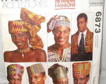 McCALL'S #6873 P473 Head Wraps, Hats & 2 Stoles EMEABA Emeaba African Fashions Accessories Sewing Pattern - Instructions to Custom Fit