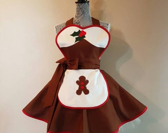 Christmas - Ginger Bread Man - Christmas apron - Gingerbread man - Retro Apron - Costume apron