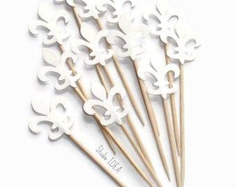 24 White Double sided Fleur des Lis Cupcake Toppers, Food Picks-Set of 24 pcs