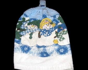 Vintage Handmade, Kitchen Towel, Snowman Towel, Kitchen Decor, Handmade Towel, Home Decor Kitchen, Winter Towel, Snowman Decor, Kitchen Deco