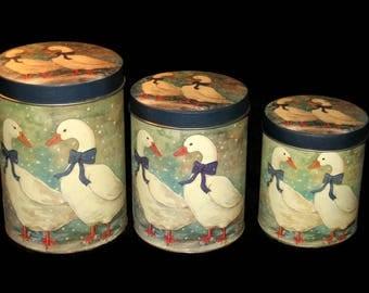 Vintage Nesting Tins, Goose Tin, Canisters, Nesting Canisters, Home Decor, Vintage Goose Tins, Country Home Decor, Kitchen Storage, Tins