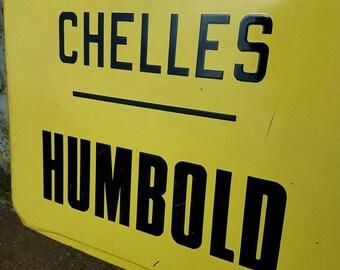 Rare Antique French Paris Chelles Humbold Enamel Bus Destination Sign, Bus Route Sign- Paris Transport Sign,Headsign,Transportation Sign