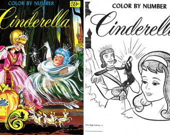 OFFER!! 5 Coloring books, color by numbers, fairytales books, cindirella, aladdin, 50's - 70's. Instant Download, PDF format (RM114)