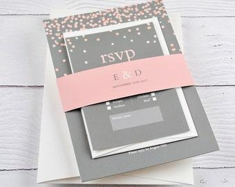 Grey Wedding Invitation, Blush Wedding Invitation, Confetti Wedding, Modern Wedding Invitation, SAMPLE