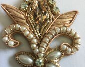 3 Beautiful Hand Embroidered appliqués,Goldwork appliqué, Indian Appliqués ,embroidered sew on appliqué,Handmade Appliqué, Crystal appliqués