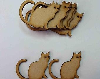 wooden craft shape CAT embellishments decoupage scrapbooking