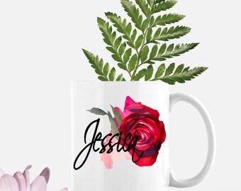 Name Coffee Mug   Personalized Gift   Rose   Floral   Custom Coffee Mug   Adorable Gift Mug   Unique Coffee Mugs   Ceramic Coffee Mug   Gift