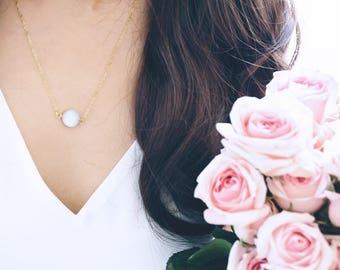 Druzy Necklace Duzy Jewelry Gold Edged White Stone, Druzy Necklace, Gold Druzy Necklace, Drusy Necklace, Layering Necklace