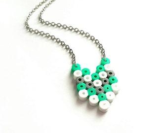 Chevron Necklace - Mint, Grey, White // Chevron Jewelry // Geometric Necklace // Geometric Jewelry // Native American // Hama Bead Necklace