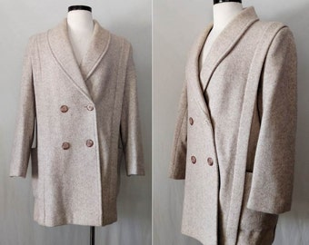 Vintage Herman Kay Coat // 1960s Beige Wool Herringbone Pea Coat // 60s Taupe / Beige Double Breasted Wool Coat Jacket Made in U.S.A.