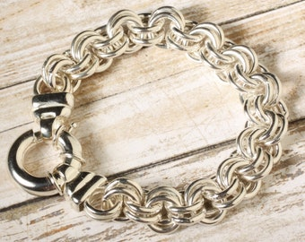 """Heavy Sterling Silver 925 Solid Double Cable 8"""" Ladies Bracelet, 58.32 grams"""