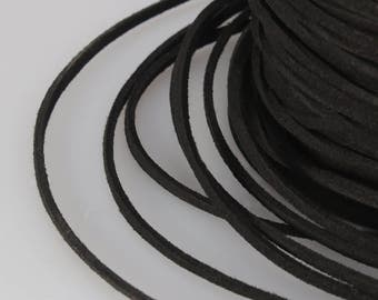 Black Suede Cord, 3x1mm; Soft Micro Fiber Faux Leather Velvet Suede Flat Lace, Cord, Thread, String, Rope; 100 Yard; Jewelry Making