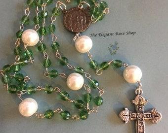 Beautiful Handmade Rosary in Green