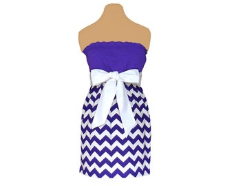 Purple + White Chevron Game Day Dress