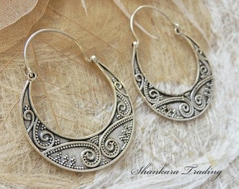 Tribal Hoop Earrings, Sterling Silver Earrings, Gypsy Hoop Earrings, Tribal Belly Dance Jewelry, Ethnic Earrings, Boho Silver Jewellery