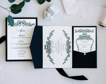Black Tie Invitation Card/Black Tie Wedding Card/ Luxury Wedding invitation/Royal Monogram Wedding Invitation/Luxury Wedding Card