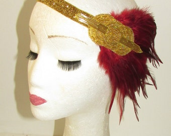 Gold Burgundy Maroon Red Feather Headband 1920s Flapper Headpiece Vintage 1154