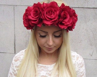 Large Red Rose Flower Hair Crown Headband Vintage Garland Big Boho Elasticated Stretch Lana Del Rey Oversized Festival Bridesmaid T55