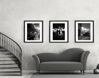 set of 3 prints, black and white photography prints, night pictures, photography set, black and white art, large vertical print set of 3