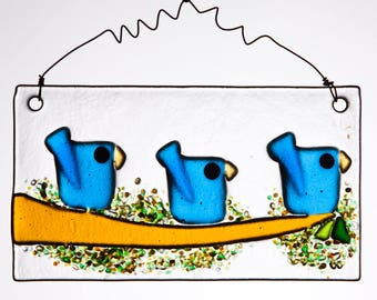 Three Whimsical Little Blue Birds in Fused Glass