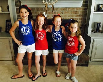 Monogrammed Fourth of July Tank,Monogrammed Patriotic tank,Preppy Tank,Red white and blue tank,monogrammed july 4th tank,fourth of july tank