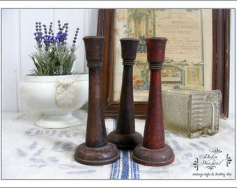 antique french wooden candlestick - country living