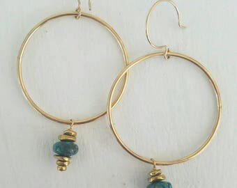 Gold hoops: turquoise stack