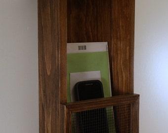 Entryway Mail Organizer-Key Rack- Shelf-Espresso Finish