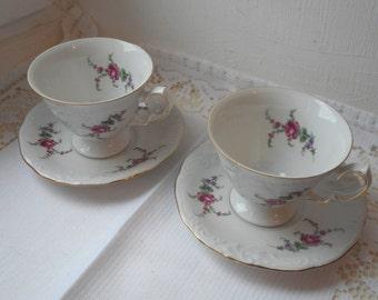 pair of vintage Wapbrzych Polish fine bone china cups and saucers