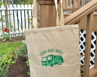 Reduce Reuse Recycle Garbage Truck Market Tote - Free Shipping