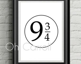 Platform 9 3/4 Wall Print - Harry Potter - Instant Digital Download