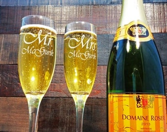 Personalized Toasting Glasses, Wedding Gift Champagne Glasses, Custom Engraved Glass, Etched, Mr Mrs Champagne Flutes, Set of 2 - 48 DESIGNS