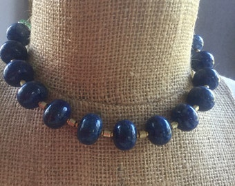 Afghani lapis rondell beads choker necklace with goldwash N115