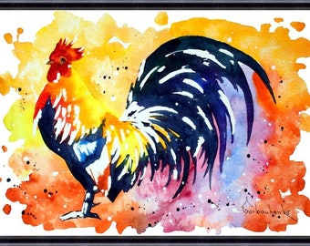 Rooster Print, Rooster Watercolor Print, Rooster Wall Art